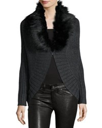 Three Dots Sophie Cape Cardigan W Removable Faux Fur Charcoal