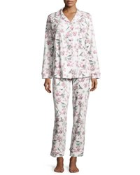 Bedhead Toile Bird Print Classic Pajama Set Light Blue Ivory Bird