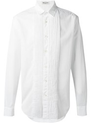 Saint Laurent Pleated Bib Shirt White