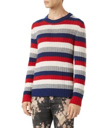 Gucci Striped Cashmere Crewneck Sweater Red