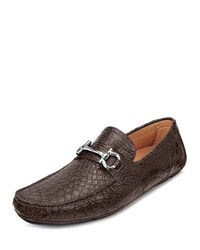 Salvatore Ferragamo Crocodile Parigi Driver Brown