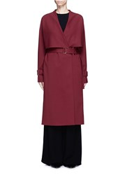 Rosetta Getty Virgin Wool Twill Belted Trench Coat Red