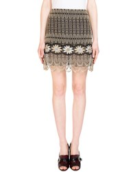 Erdem Mari Metallic Embroidered Mini Skirt Gold