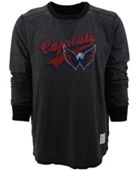 Retro Brand Men's Long Sleeve Washington Capitals Crew Sweatshirt Black