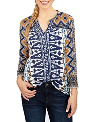 Lucky Brand Patterned Blouse Natural Multi