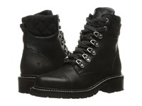 Frye Samantha Hiker Black Waterproof Waxed Pebbled Leather Quilted Wool Women's Lace Up Boots