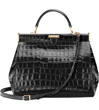 Aspinal Of London The Dockery Large Embossed Leather Handbag Black
