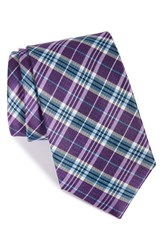 Men's Nordstrom Men's Shop 'Grand Plaid' Silk Tie Purple