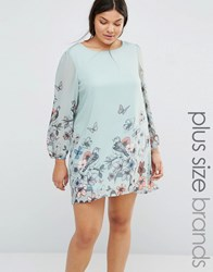 Yumi Plus Shift Dress In Butterfly Print Mint Blue