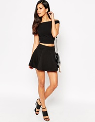 Ax Paris Quilted Skater Skirt Black