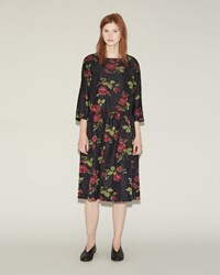 Comme Des Garcons Floral Silk Jacquard Dress Black Wine Red