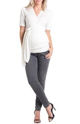 Women's Lilac Clothing 'Bella' Faux Wrap Maternity Top Ivory