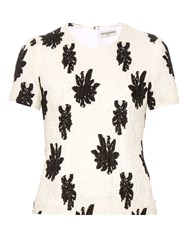 Balenciaga Floral Fil Coupe Silk Blend Cloque Top
