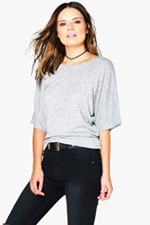 Boohoo Ruched Side Batwing Knit Top Grey