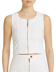 7 For All Mankind Front Zip Cropped Denim Tank Top Runway White