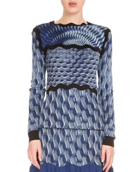 Mary Katrantzou Long Sleeve Wave Knit Top Navy