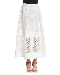 Nicholas Geometric Lace Ball Skirt White