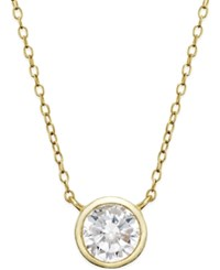Giani Bernini Cubic Zirconia Solitaire Bezel Pendant Necklace In 24K Gold Over Sterling Silver