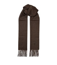 Tom Ford Check Cashmere Scarf Unisex Brown