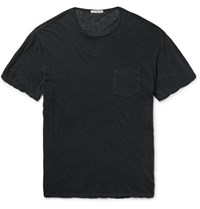 James Perse Slub Linen And Cotton Blend T Shirt Gray