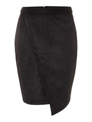 Label Lab Faux Suede Snake Print Skirt Black