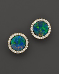 Meira T 14K Yellow Gold Blue Opal And Diamond Stud Earrings
