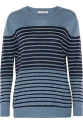 Autumn Cashmere Leather Trimmed Striped Cashmere Sweater Blue