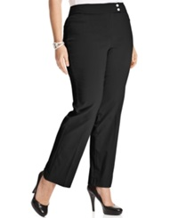Style And Co. Plus Size Tummy Control Straight Leg Trousers Deep Black