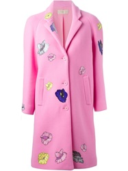 Christopher Kane Flower Sticker Crombie Coat Pink And Purple