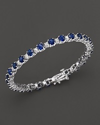 Bloomingdale's Sapphire And Diamond Bracelet In 14K White Gold Blue