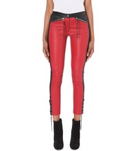 Belstaff Cantrell Skinny Mid Rise Leather Trousers Red Black
