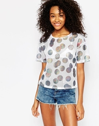 Asos Top In Open Mesh With Holographic Spot Print Multi