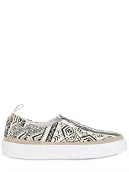 2 Star 20Mm Printed Cotton Slip On Sneakers
