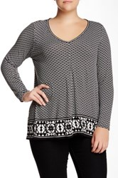 Max Studio Long Sleeve Printed V Neck Sharkbite Tee Plus Size Black