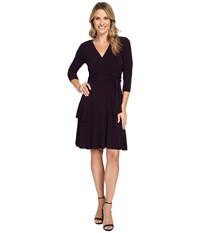 Ivanka Trump Faux Wrap Matte Jersey Dress Majestic Women's Dress Purple