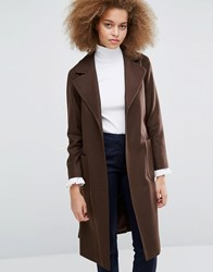 Helene Berman Becca Tie Waist Coat In Brown Brown