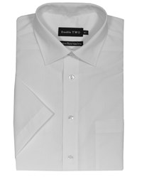 Double Two Men's Non Iron Poplin Short Sleeve Shirt White