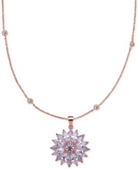 Nina Rose Gold Tone Crystal Flower Pendant Necklace