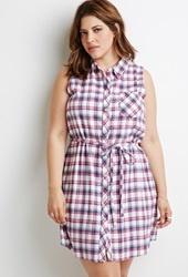 Forever 21 Belted Plaid Shirt Dress White Pink
