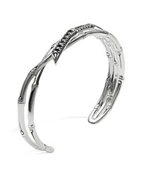 John Hardy Women's Sterling Silver Bamboo Lava Narrow Squeeze Cuff With Black Sapphires Silver Black