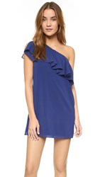 Alice Olivia Francie One Shoulder Ruffled Dress Indigo