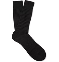 Pantherella Laburnum Ribbed Merino Wool Blend Socks Black