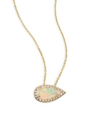 Suzanne Kalan Soleil Opal Diamond And 14K Yellow Gold East West Pear Pendant Necklace