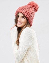 Asos Extra Chunky Beanie With Extra Large Pom Red