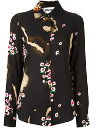 Moschino Burned Effect Floral Shirt Black
