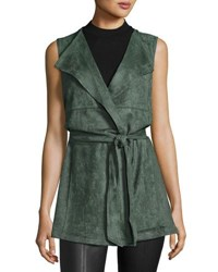 Neiman Marcus Long Belted Wrap Vest Green Sage