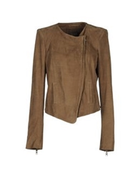 Roberta Furlanetto Leather Outerwear Khaki