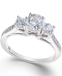 Macy's Diamond 3 Stone Engagement Ring 1 1 10 Ct. T.W. In 18K White Gold No Color