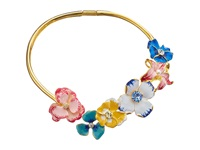 Kenneth Jay Lane Multi Flower Bib Necklace Gold Garden Multi Necklace