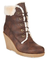 Mojo Moxy Dolce By Fresco Lace Up Wedge Booties Women's Shoes Espresso